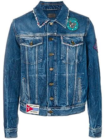 Saint Laurent Giacca Uomo 483064Y883l4760 Cotone Blu  Amazon.it   Abbigliamento b3a0327efbd