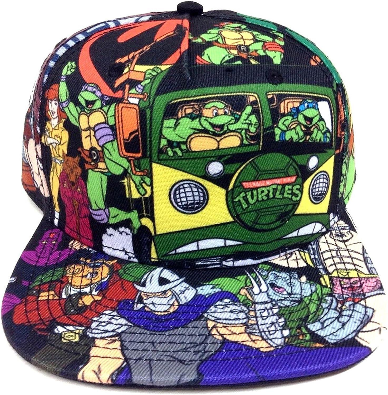 Teenage Mutant Ninja Turtles All Over Print Cartoon Snapback Black