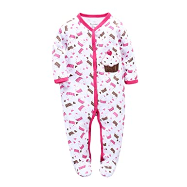 9d66a639e6 BUAAM Baby s 100% Cotton Coverall Jumpsuit Winter Sleep n Play Footie 0-3  Months