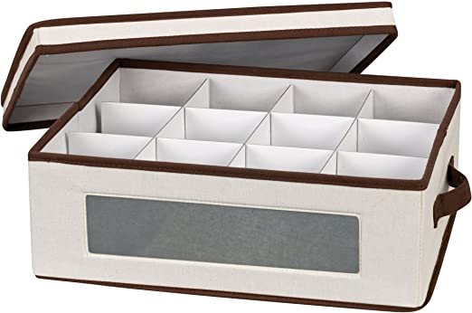 Household Essentials Salad Plate Storage Chest Natural Canvas with Brown Trim