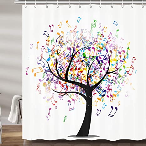 Amazon Com Jawo Music Life Tree Shower Curtain For Bathroom Colorful Abstract Note Musical As Leaves Polyester Fabric Bath Curtains With Hooks 69x70 Inches Home Kitchen