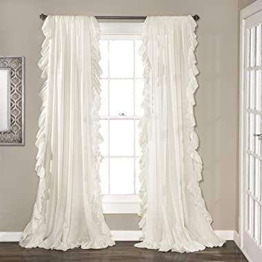 """Lush Decor Reyna White Window Panel Curtain Set for Living, Dining Room, Bedroom (Pair), 108"""" x 54"""", 108  x 54 ,"""