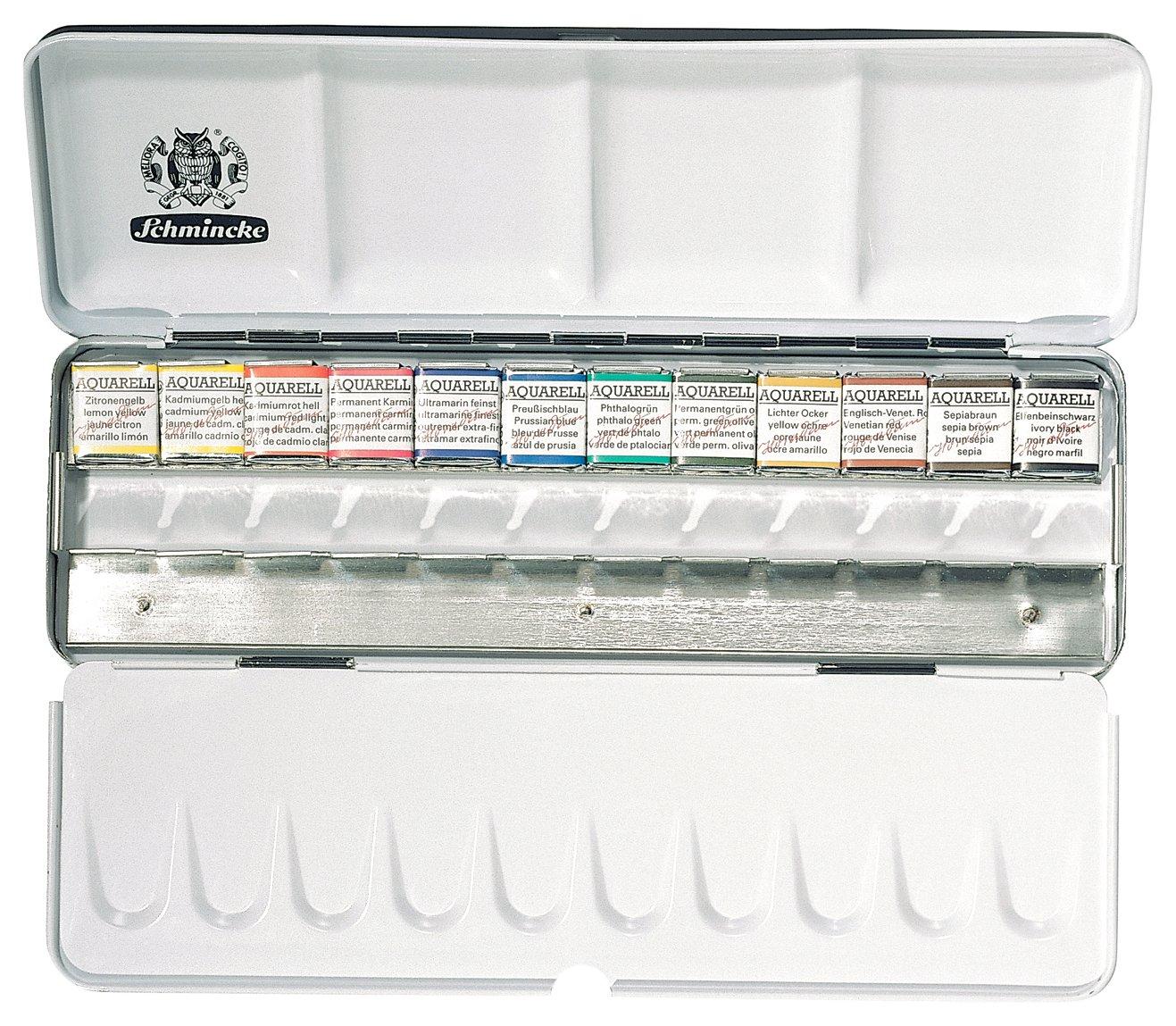 Schmincke Watercolors, scatola di metallo set di acquerelli, 12 colori (74412097) 12colori (74412097) Cell Distributors
