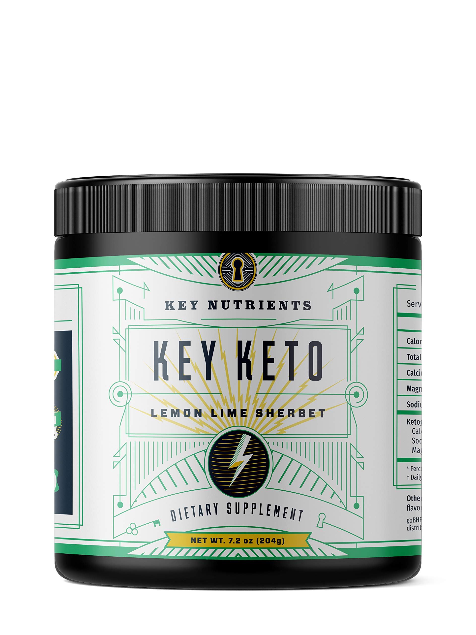 Exogenous Ketone Supplement, Key Keto: Patented BHB Salts (Beta-Hydroxybutyrate) - Formulated for Ketosis, to Burn Fat, Increase Energy and Focus, Supports a Keto Diet. Lemon Lime Sherbet 15 Servings