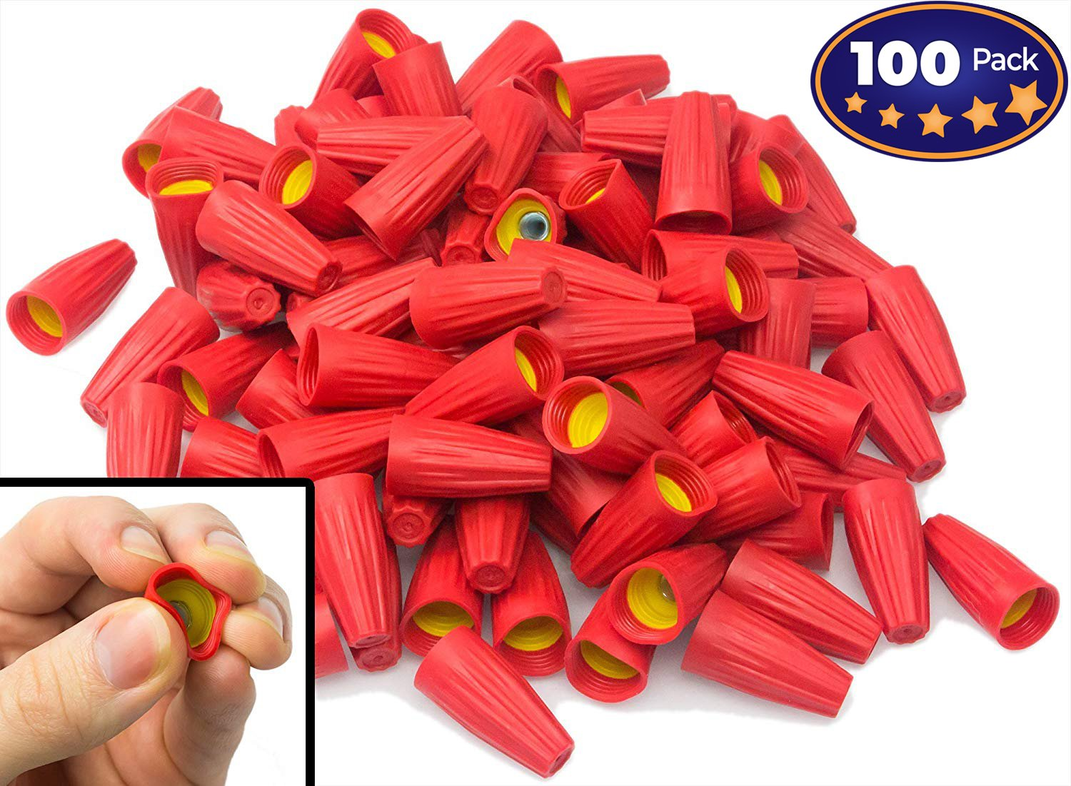 Nova Supplys Premium Ergonomic Wire Nuts 100 Pack. Cushioned Electrical Connectors Are Easier On Your Hands, Faster to Install. Caps Fit Wide Range of Wires: #8 - #18 Gauge, 600v, UL-Certified.