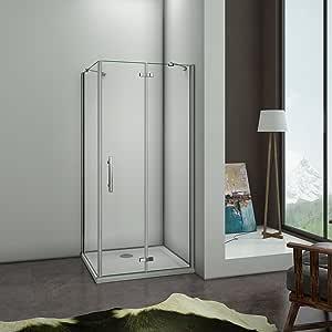 Mampara de ducha angular, con puerta plegable batiente de 180 grados, cristal templado transparente antical y dos barras estabilizadoras del ángulo, transparente: Amazon.es: Bricolaje y herramientas