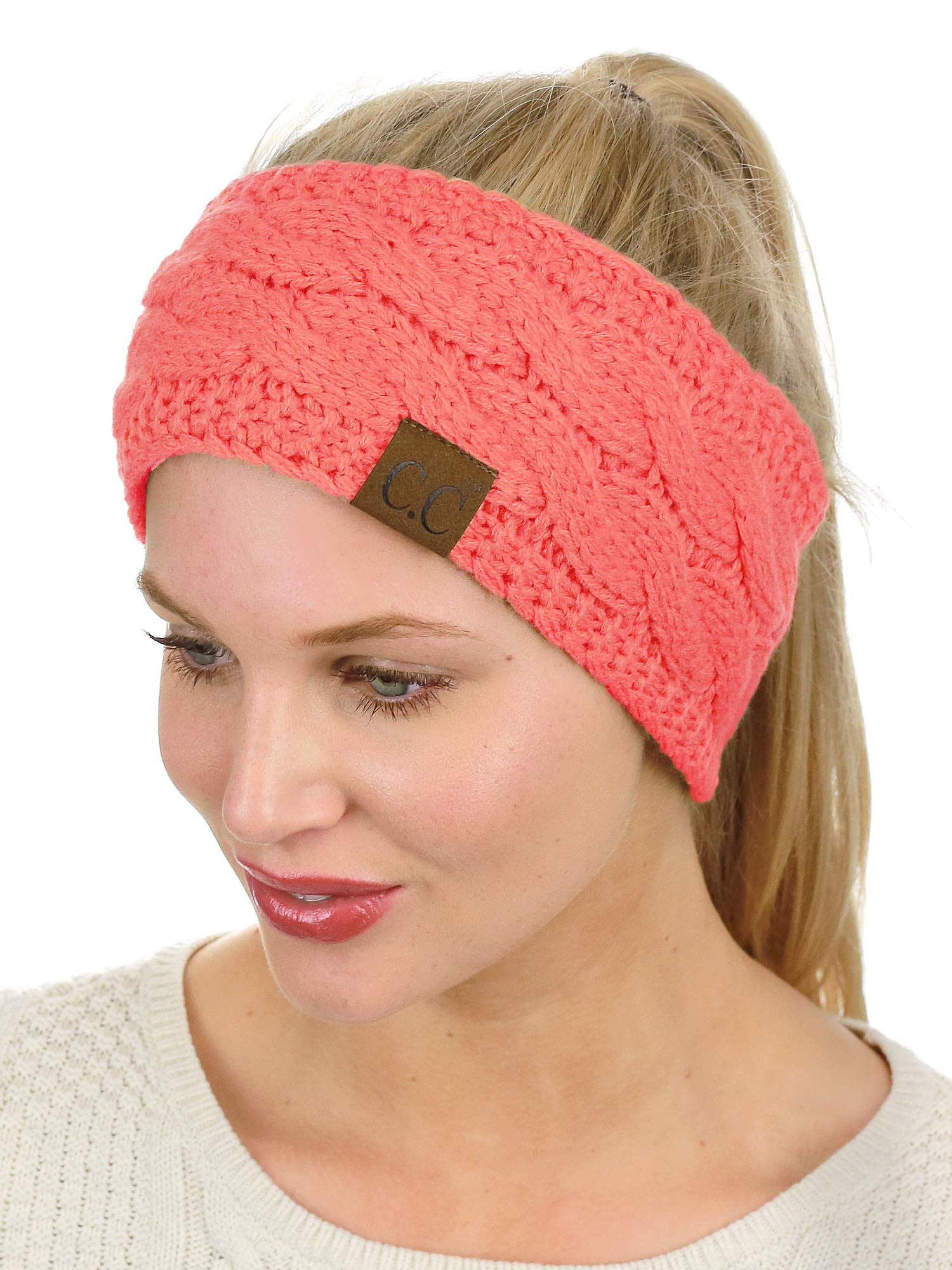 C.C Soft Stretch Winter Warm Cable Knit Fuzzy Lined Ear Warmer Headband, Coral