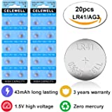 CELEWELL 43mAh LR41 AG3 Watch Toy LED Battery with 3 Years Warranty as 392 384 Laser Pointer 1.5V Alkaline Coin Button Cell 20 Pack