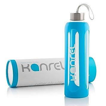 Botella Agua Cristal 1 litro / 1000 ml Grande con Funda de Silicona, Reutilizable,