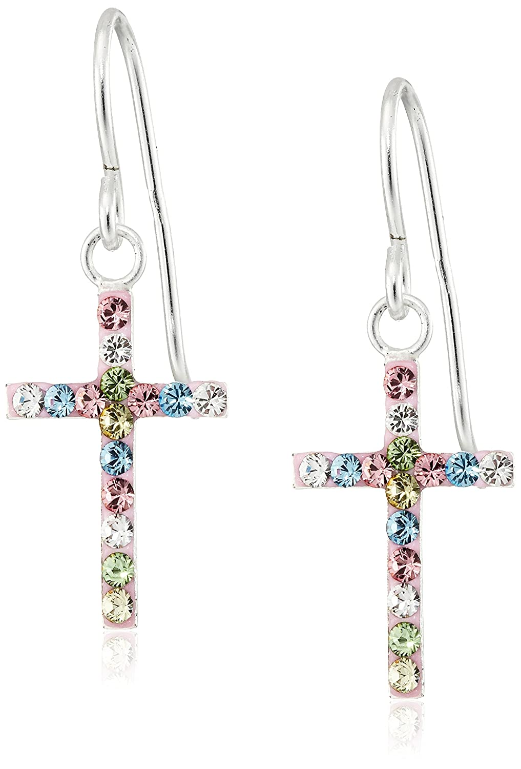 Hallmark Jewelry Girls Sterling Silver Rainbow Crystal Cross Drop Earrings