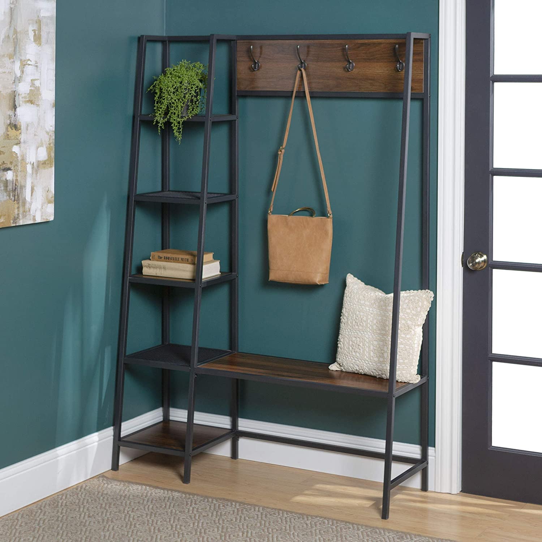 WE Furniture5 Shelf Entryway Bench Hall Tree Storage Coat Rack, 72 Inch, Walnut Brown