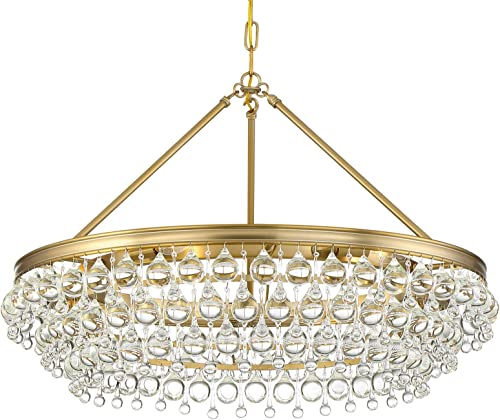 Crystorama Chandelier Calypso 6 Light Crystal Teardrop