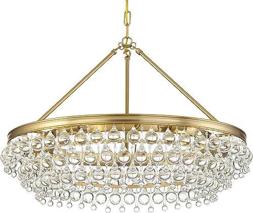 Crystorama Chandelier Calypso 6 Light Crystal Teardrop, Vibrant Gold