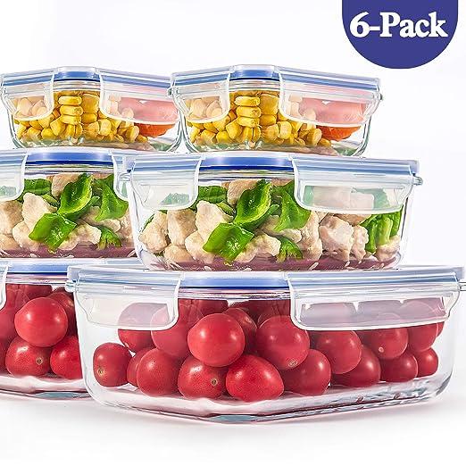 Recipiente de almacenamiento de alimentos de vidrio con tapas ...