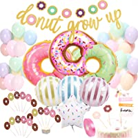 Donut Birthday Party Decorations Kit Donut Grow Up Banner Mylar Foil and Latex Balloons Cupca