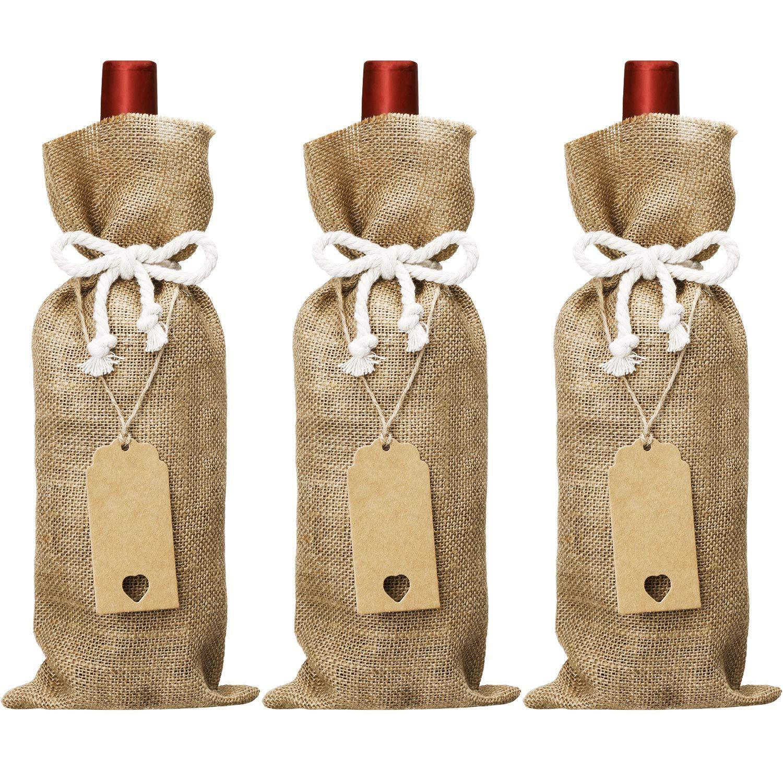 Sacchetti di Tela Iuta per Vino, 14 x 5.8 Pollici Riutilizzabili Sacchetti di Vino con Corde di Cotone e Etichette (6) Tatuo