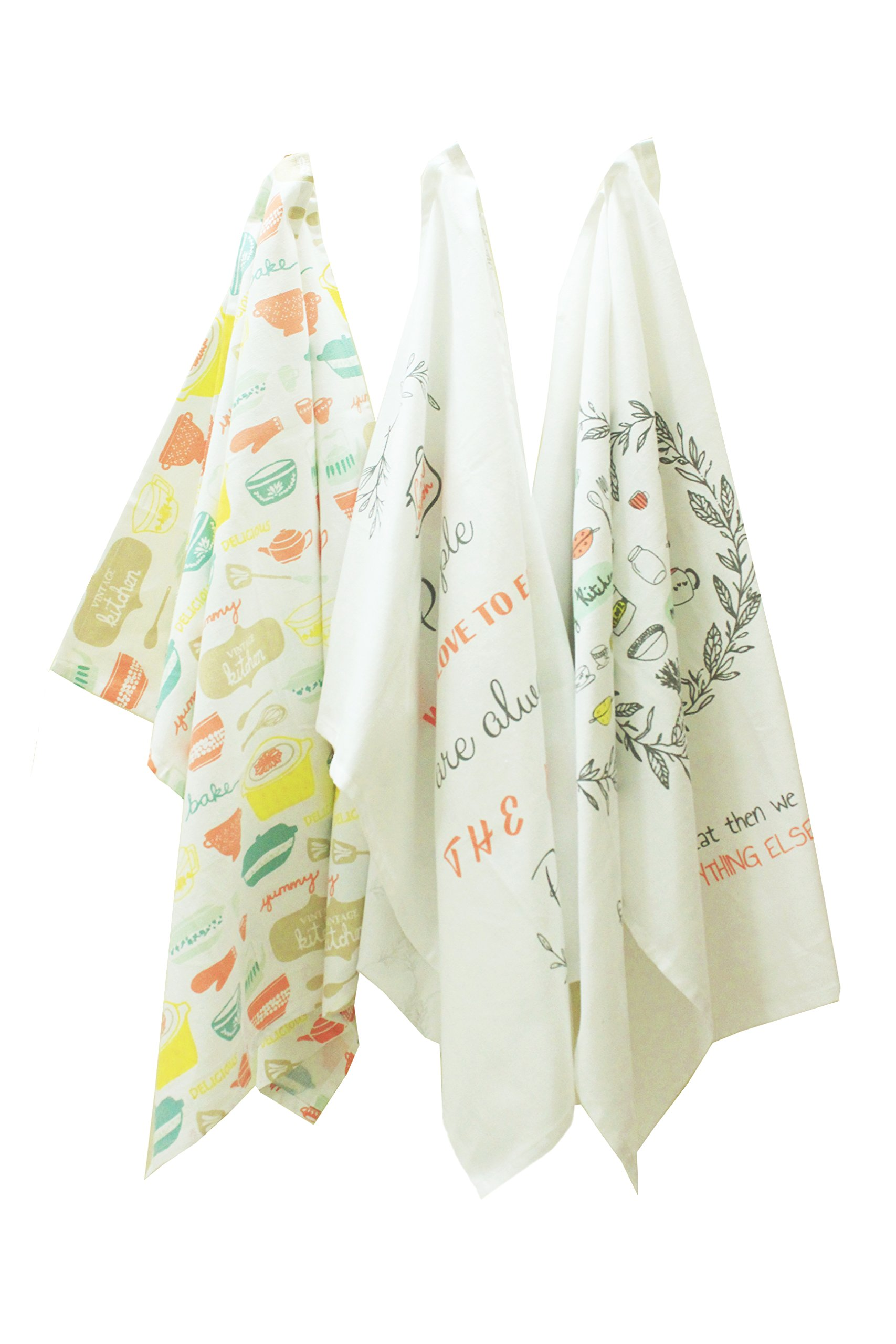 Happy Home Linens Printed Kitchen Towels 'Food Love' 100% Cotton, Set Of 6, 20 x 27.50 Inch, Perfect Home And Kitchen Gift