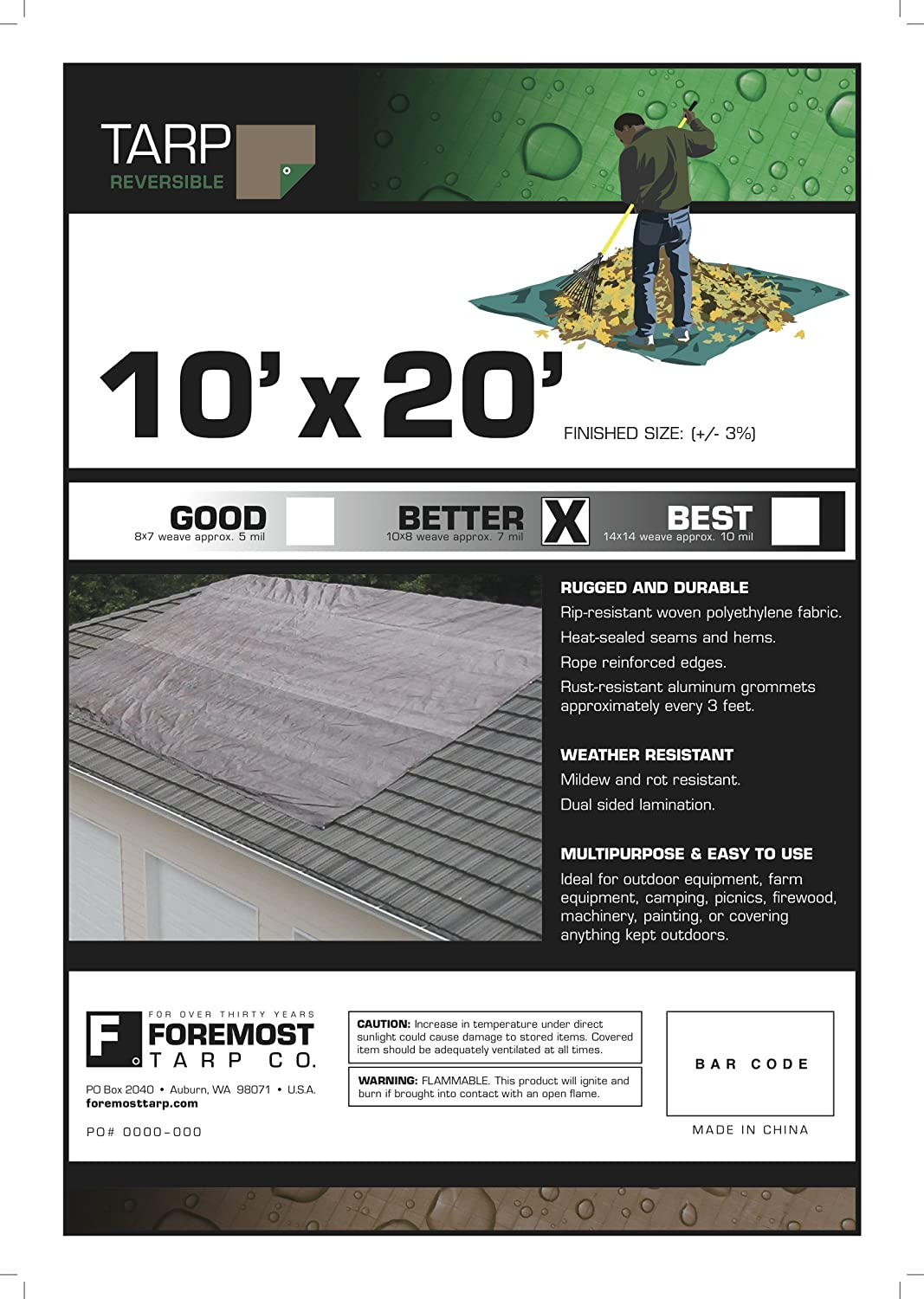 12030 20x30 20x30 Multi-Purpose Brown//Green Medium Duty DRY TOP Poly Tarp