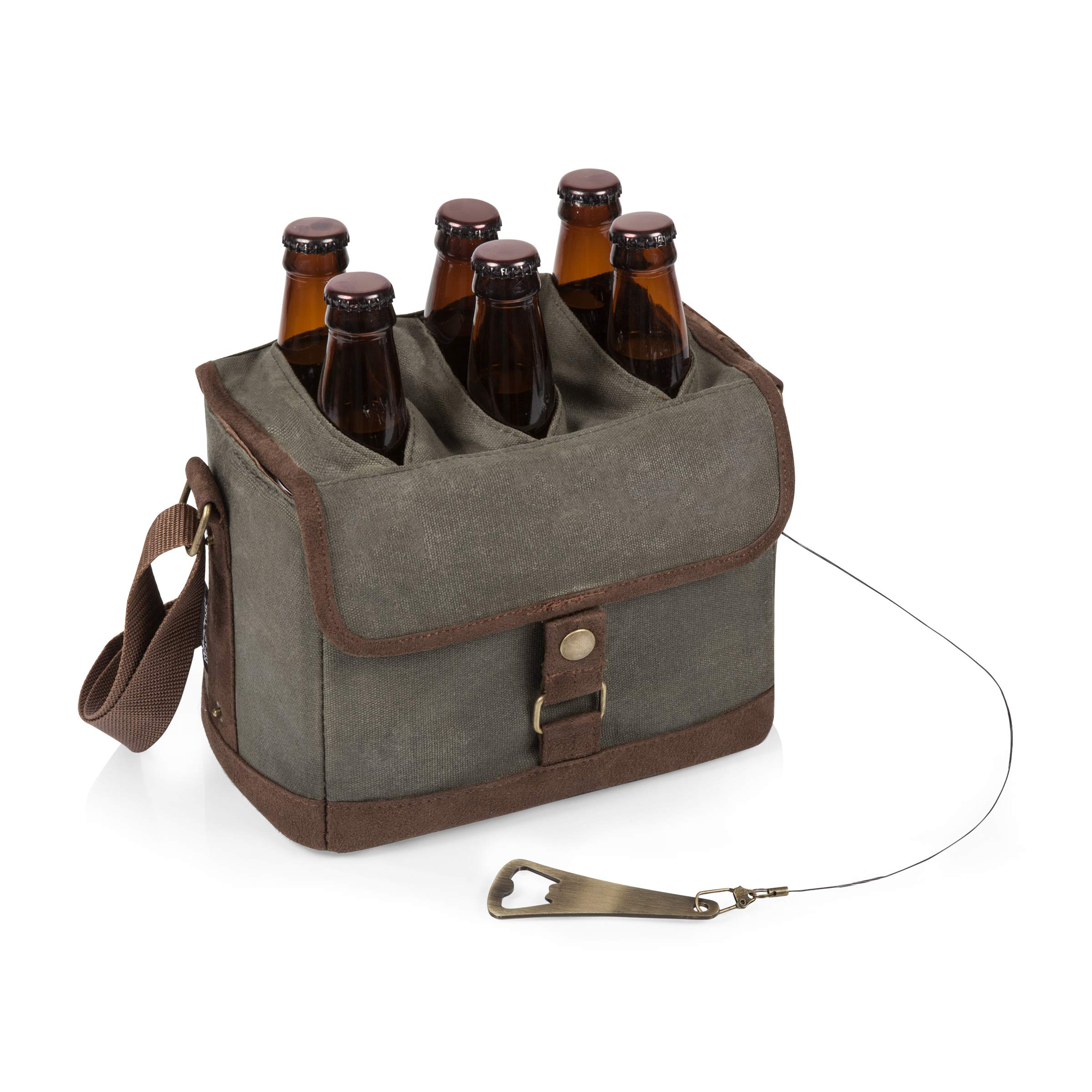 LEGACY - a Picnic Time Brand 6-Bottle Beer Caddy with Integrated Bottle Opener, Khaki Green/Brown by LEGACY - a Picnic Time Brand (Image #1)