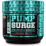 PUMPSURGE Caffeine-Free Pump & Nootropic Pre Workout Supplement, Non Stimulant Preworkout Powder & Nitric Oxide Booster,20 Se