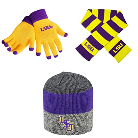 e7748ed164bc2 NCAA LSU Tigers Striped Rugby Scarf Sunset Beanie Hat And Glove Solid Knit  3 Pack Bundle. Roll over image to zoom in