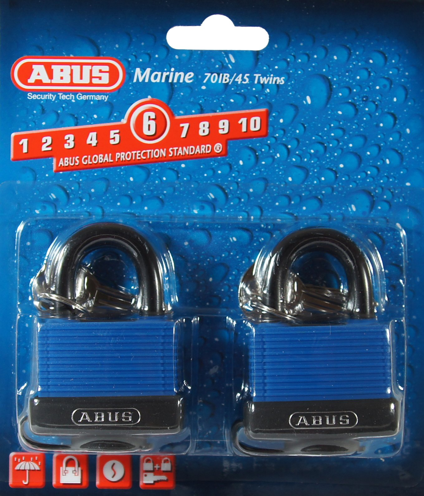 ABUS 70/45 All Weather Solid Brass Padlock Keyed Alike - Stainless Steel Shackle - 2 Pack by ABUS