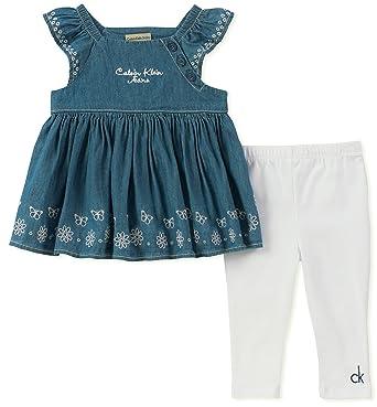 d669d2372baf4 Calvin Klein Baby Girl's Tunic Legging Set Pants, wash blue/white, ...