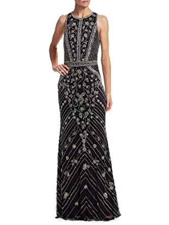 526b73d082323 Theia Floral Beaded Sleeveless Evening Gown Dress Black/Silver at ...