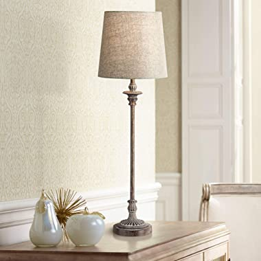 Bentley Traditional Buffet Table Lamp Weathered Brown Linen Fabric Drum Shade for Dining Room