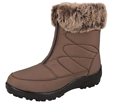 2e3d18d51ab4d Cushion Walk Women's Winter Warm Faux Fur Lined Thermo Tex Ankle Zip ...
