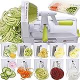 Brieftons 10-Blade Spiralizer: Strongest-and-Heaviest Vegetable Spiral Slicer, Best Veggie Pasta Spaghetti Maker for Low Carb