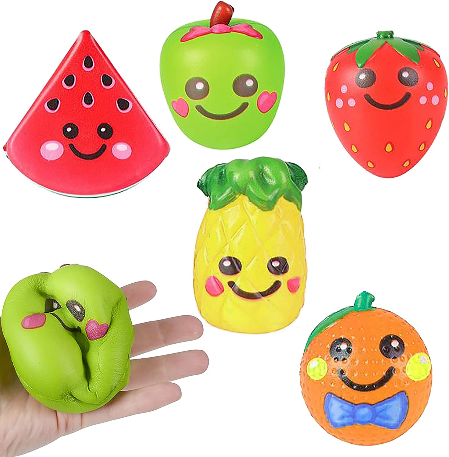 6 Squishy Toys for Kids Squishies Jumbo Slow Rising Pack Food Fruit, 3.75