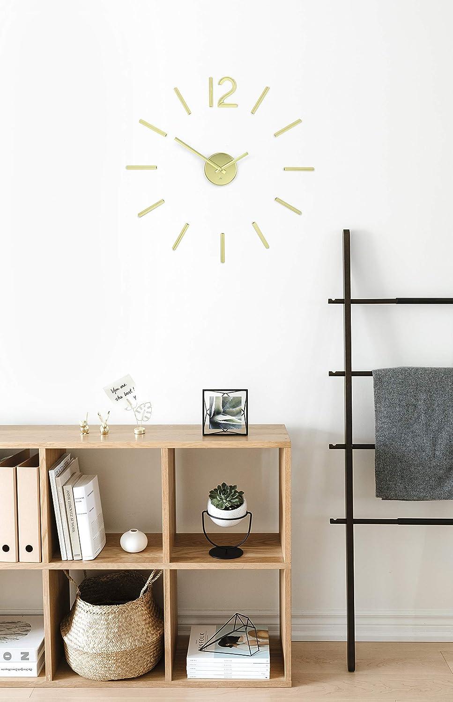 Umbra Blink Modern DIY 3D, Easy to Paste Sticker Numbers, Frameless Large Decorative Wall Clock, Simple Indicators, Minimalist, Brass