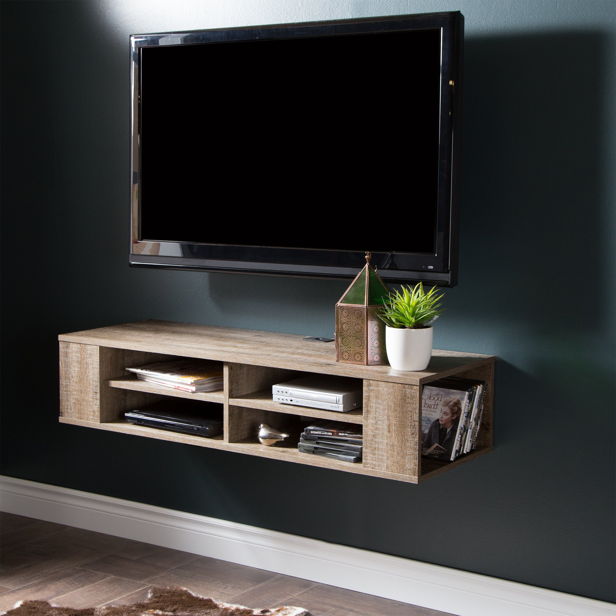 "City Life Wall Mounted Media Console - 48"" Wide - Extra Storage - Weathered Oak - By South Shore"