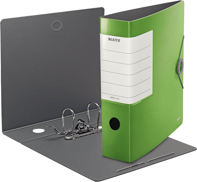 Polyfoam leggero Chiusura a elastico Dorso 8.2 cm Leitz Raccoglitore con meccanismo a leva 180/° 11120050 Verde chiaro Active Quality Formato A4