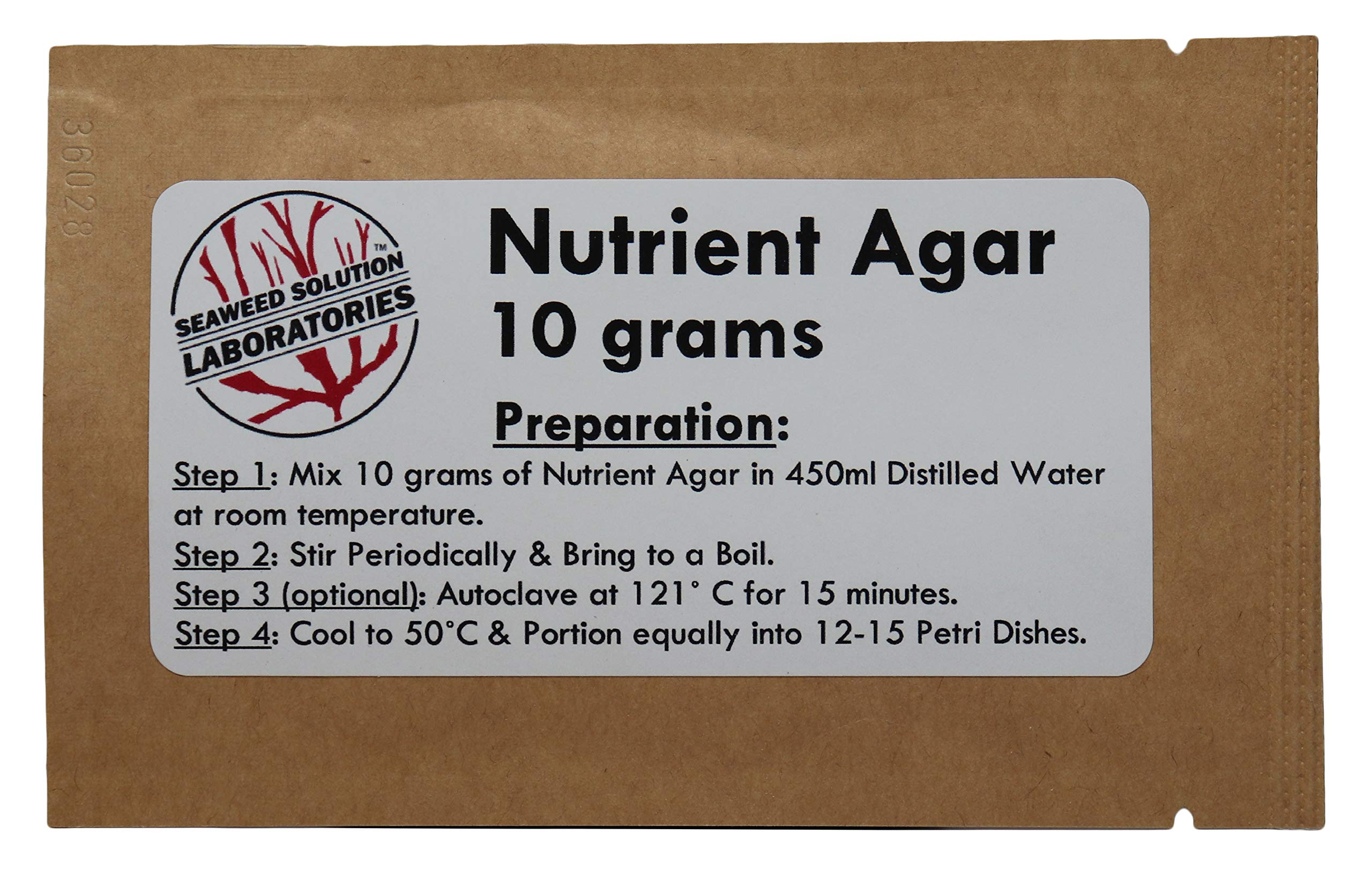 Nutrient Agar 10 Grams (Dehydrated) by Seaweed Solution Laboratories Nutrient Agar 10 grams