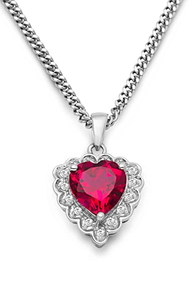 Stardust 1.35ct Ruby and Diamond Halo Silver Pendant (WHITE GOLD) GBzf3sc