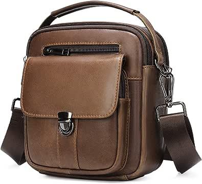 BAIGIO Bolso Bandolera Hombre de Cuero Bolso de Hombro Piel Pequeño Vintage Crossbody Bag Casual