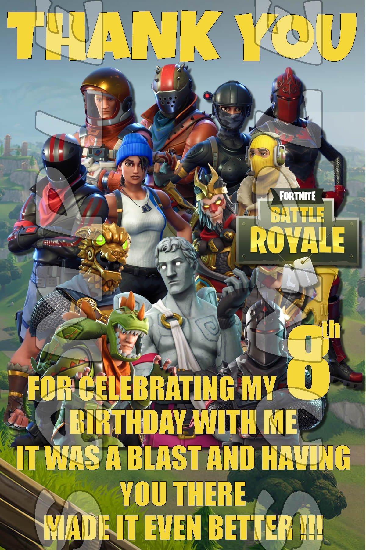 Fortnite 4x6 Birthday Thank You Cards w/Envelopes #1