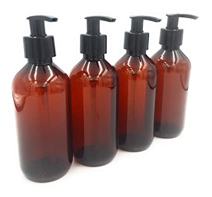 Pack de 4 x 300 ml ámbar Pet botella de plástico vacía con negro bomba de