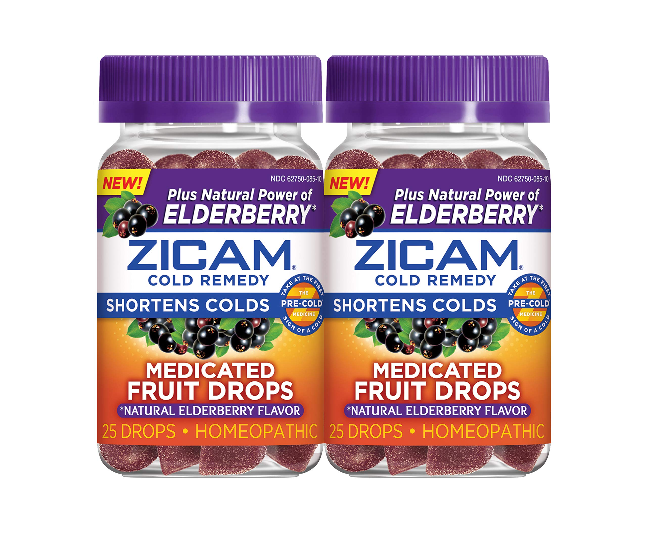 Zicam Natural Elderberry Cold Remedy Medicated Fruit Drops Homeopathic Medicine for Shortening Colds, 25 Drops, 2-Pack by Zicam