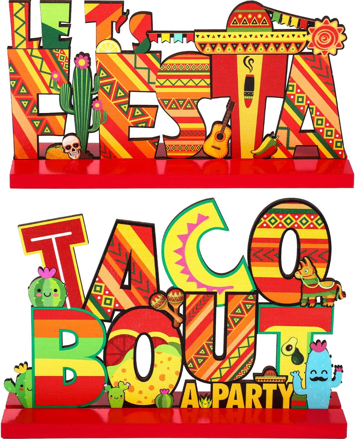 Blulu Fiesta Party Decoration Mexican Fiesta Table Signs Taco Bout a Party Wooden Table Centerpiece for Fiesta Mexican Cinco de Mayo Birthday Party Decor, 7.87 x 4.72 Inch, 2 Pcs