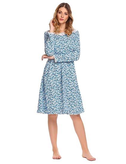 Ekouaer Women痴 Nightgowns Cotton Sleepshirt Nightshirts Long Sleeve Sleep  Dress (Blue e8c6c4ecf