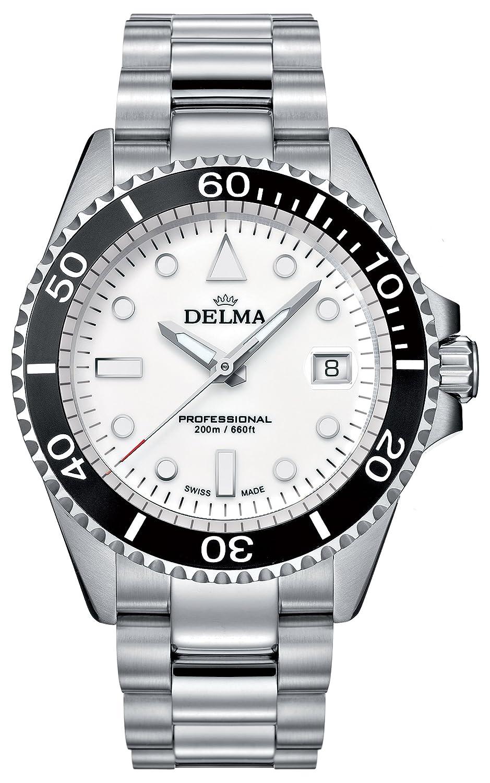 DELMA - Schweizer Sportuhr - Herrenuhr Commodore weiß - Ø 43 mm