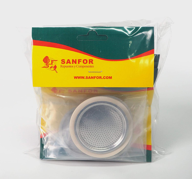 Sanfor 70042 Paquete 10 Blíster Filtro+Junta Cafetera 3 tazas ...
