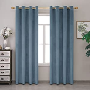 Lexrowen Stoneblue Blackout Velvet Curtains 96 Inches Long Window Curtain Treatment for Bedroom Living Room Decor Farmhouse Grommets Curtains Thermal Insulated Velvet Drapes Set of 1 Panel