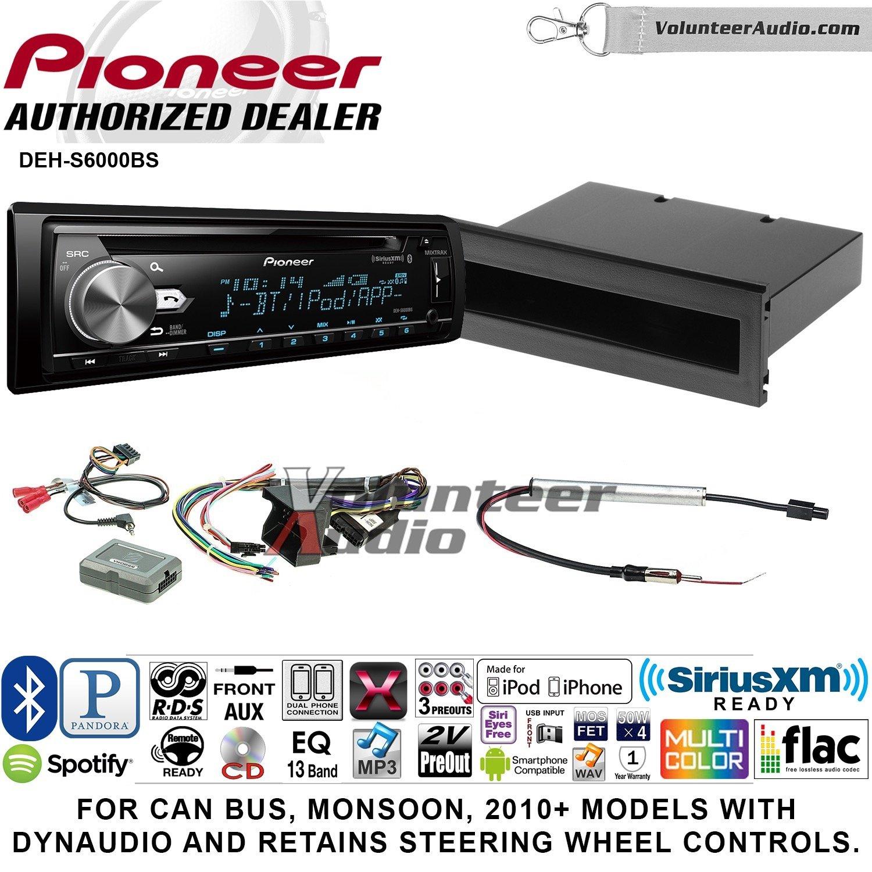 パイオニアdeh-s6000bsダブルDINラジオインストールキットwith Bluetooth、シリウスXM、CDプレーヤーFits 2002 – 2005フォルクスワーゲンPassat B07D3GBJFK