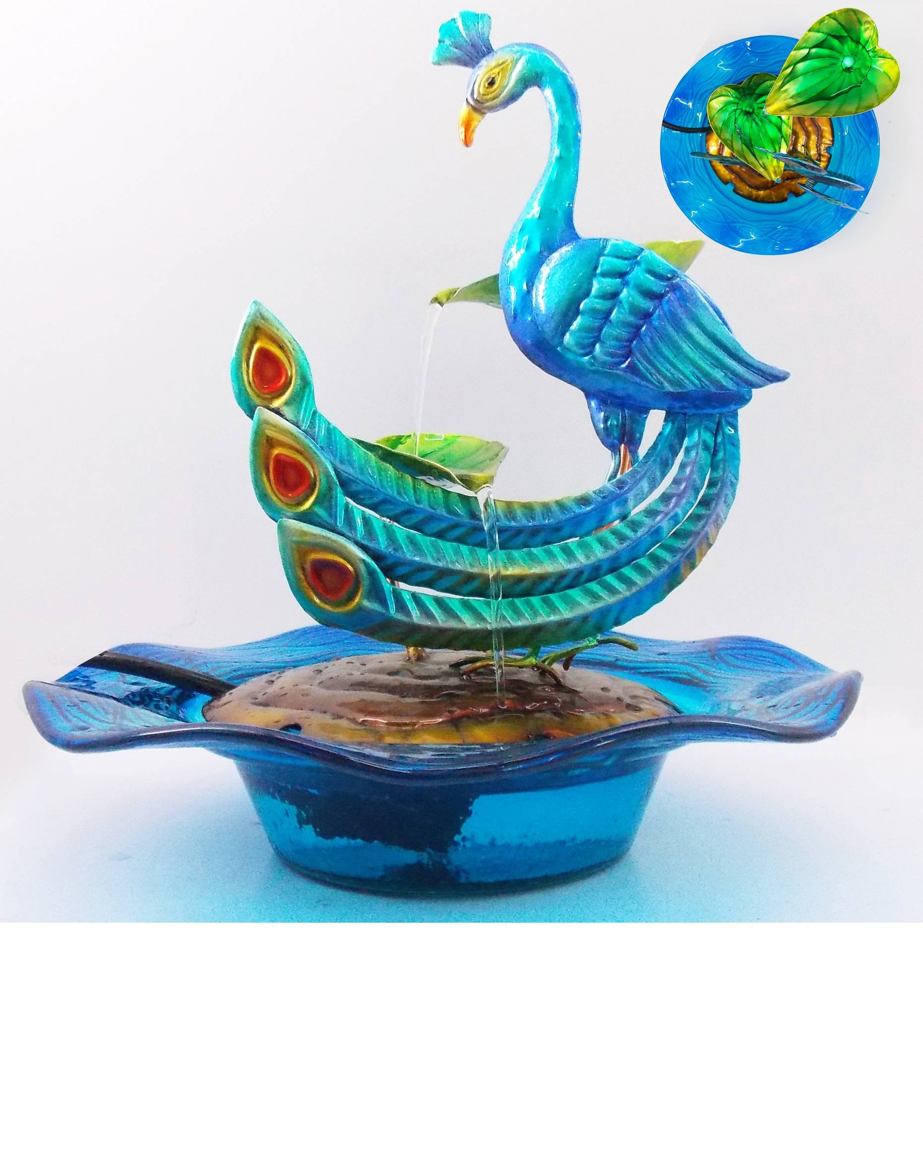 Comfy Hour 12''  Blue Metal Art Peacock Tabletop Water Fountain Garden Decor by Comfy Hour