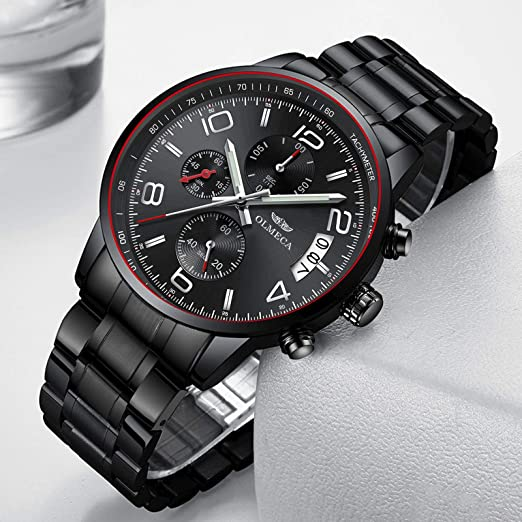Amazon.com: OLMECA Mens Watches Luxury Waterproof Fashion Quartz Women Watches Chronograph Stainless Steel Band Wristwatches for Men 0831M-QHYDgd: Watches