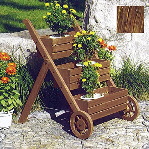 Escalera - 3 baldas de madera maciza diseño de jardín de flores macetero/olla - Burntwood: Amazon.es: Jardín